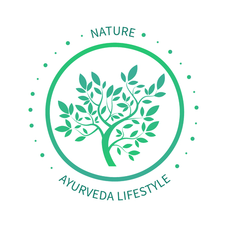 massage symbol: Green circle tree with leaves vector logo design template isoletad on white. Ayurvedic tree icon, vector symbol of natural lifestyle. Alternative massage symbol