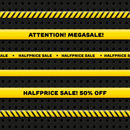 police line: Police line for megasale, realistic vector set isolated on dark background. Seamless caution tapes Illustration