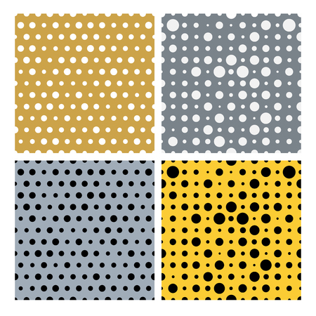 polkadot: Gold and silver dots vector seamless pattern. Random dotted texture collection, vector seamless patterns. Tileable simple texture seamless pattern. Illustration