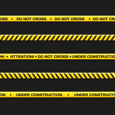 crime scene: Police line. Do not cross, under construction. Vector crime scene background. Danger tapes set