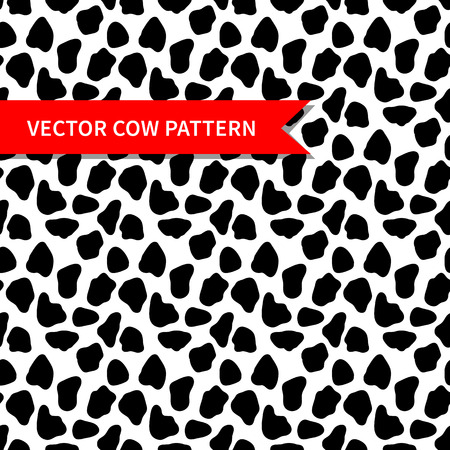 cow skin: Cow skin vector seamless pattern. Abstract vector pattern with random black spots. Cow pattern for print textile Illustration