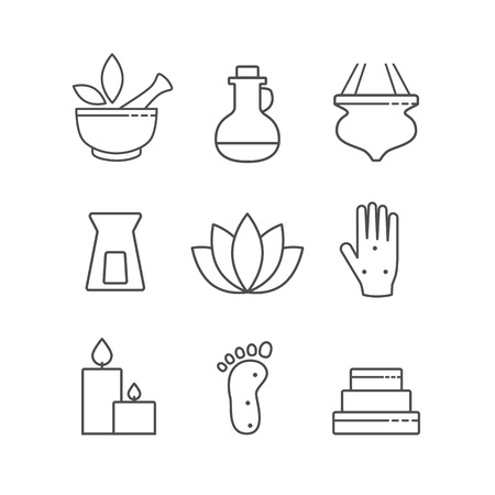 chinese medicine: Set of linear outline alternative medicine and spa icons, vector symbols isolated on white. Ayurveda, Chinese Medicine, holistic center logo.