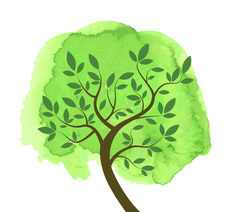 Stylized abstract tree with brunches and leaves on green watercolor spot. Vector tree with watercolor