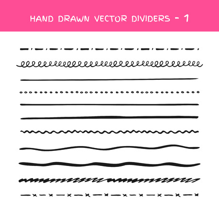 Black vector marker strokes collection. Set of vector hand drawn brushes elements. Doodle lines, various dividers for web sites
