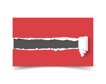 torn edges: Realistic vector template business card with hole in paper torn edges and paper roll and dark copyspace for text isolated on white background. Red torn vector paper. Business card mock up