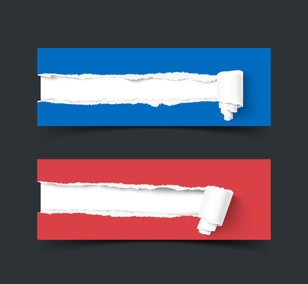 paper rolls: Set of two vector torn paper banners with paper rolls isolated on dark background. Color ripped pieces of paper isolated on white background. Illustration