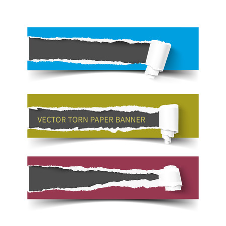 paper rolls: Set of three vector torn paper banners with paper rolls. Color ripped pieces of paper with shadow isolated on white background.