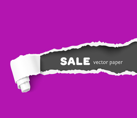 teared: color vector torn paper witn ripped edges and scroll. Paper frame for advertising and promo. Vector paper, teared paper