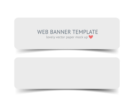 paper strip: Realistic vector web banner, header, footer. Paper strip card wirh round corners and shadow isolated on white background.
