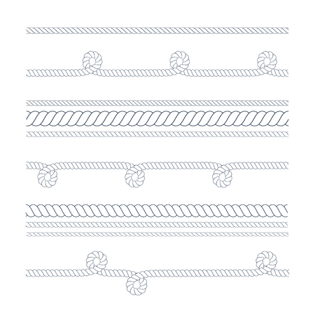 Vector outline Nautical rope thin and thick for use as brush. Navy rope for border or frame with marine knots in lines. Thin line climbing twisted rope for lasso.
