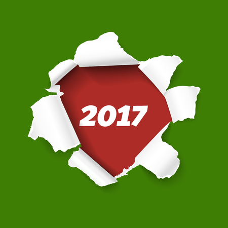 Hole in green paper with torn sides as New Year 2017 background. Red teared paper edge isolated on red background for Merry Christmas promo and advertising. Vector torn paper template.