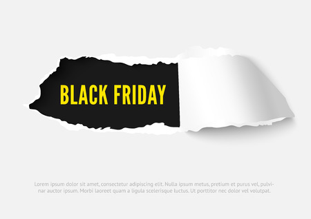 Black Friday vector paper hole with space for text, ripped edges, dark copyspace. Torn paper for scrapbooking. Torn paper template for sale promo and advertising. Ilustração