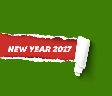 Vector torn paper template for New Year promo and advertising. Hole in red paper with torn sides as Merry Christmas background. Green teared paper edge isolated on red background. Vector paper illustration