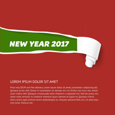 torn edge: Green teared paper edge isolated on red background. Vector torn paper template for New Year 2017 promo and advertising. Hole in red paper with torn sides. Illustration