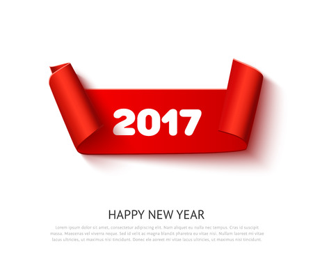 roll paper: New year 2017 red realistic curved paper ribbon scroll banner isolated on white background. Vector illustration, detailed roll paper ribbon for web advertising, promo, sale