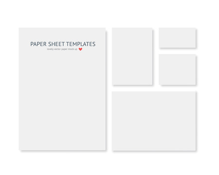 Blank stationery and corporate identity template. Consist of realistic vector white paper different sizes with shadow isolated on white background