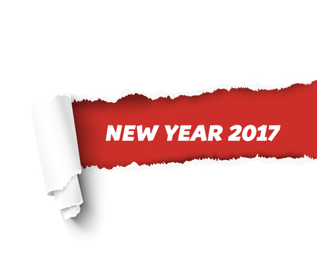 teared paper: New Year vector torn paper template. Red teared paper edge isolated on white background for promo and advertising.