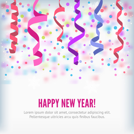 party streamers: Happy New Year vector streamers and confetti background. Streamers or curved swirl paper ribbon. Festive streamers celebration background. Streamers and confetti of party popper for web banner