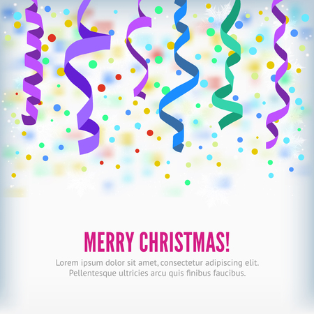 streamers: Merry Christmas vector streamers on confetti background. Festive streamers celebration background. Streamers and curved swirl paper ribbon. Streamers and confetti party popper for banner or background Illustration