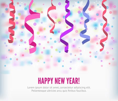 streamers: Happy New Year festive streamers celebration background. Streamers and curved swirl paper ribbon. Isolated streamers and confetti of party popper. Vector streamers and confetti background.