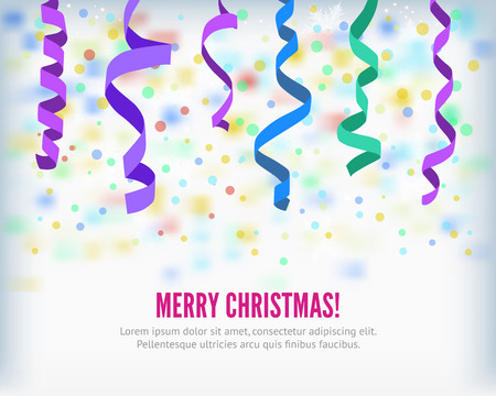 party streamers: Merry Christmas set of colorful flat streamers and confetti isolated on light background. Carnival winter party serpentine party popper decoration for your banner and greating card design. Illustration