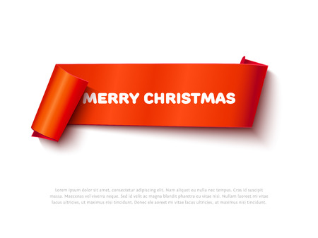 roll paper: Xmas vector illustration. Paper roll for advertising. Very Merry Christmas red realistic curved paper ribbon scroll banner isolated on white background. Detailed roll paper ribbon for web, sale promo. Illustration