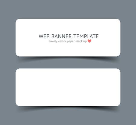 paper strip: Realistic vector web banner, header, footer. Paper strip card wirh round corners and shadow isolated on dark gray background. Mock up for graphic designar portfolio presentation, paper template