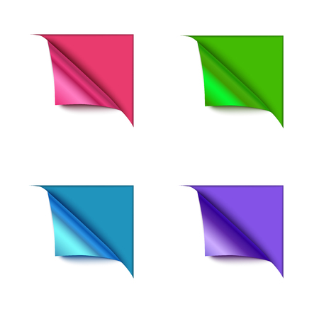 paper corner: Set of four paper corner folds isolated on color background. Realistic vector paper.