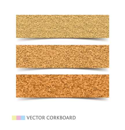 noticeboard: Cork board banner texture. Realistic vector illustration web banners with shadow isolated on white background.
