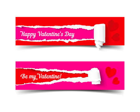 paper strip: Valentines day banners set. Realistic vector torn paper strip with roll. Illustration