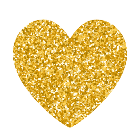 Valentines day glitter gold heart isolated on white background. Design for holiday gift card, banner, flyer. Illustration