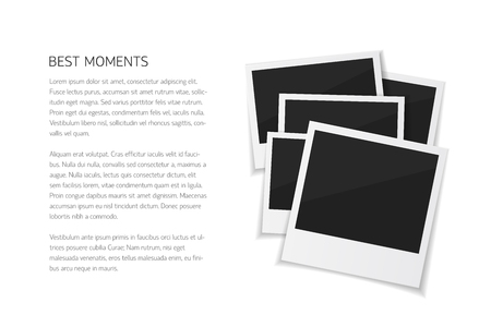 to collect: Collect moments with instant photos. Vector isolated  photo frames with place for text. Empty retro photos on white background. Illustration