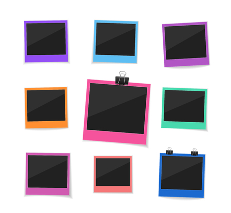 remember: Remember every moment. Flat vector retro photo frames hanged with paper clip. Colorful instant photo frame collection. Empty  photo on white ground.
