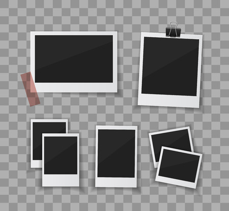 remember: Remember every moment. Instant photo frame collection. Vector  photo sticked with paper tape and hanged with paper clip. Empty retro photo frames on white background.