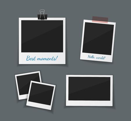 ベクトルのレトロなフォト フレーム紙テープを付着とペーパー クリップで絞首刑します。インスタント写真フレーム コレクションです。暗いバッ