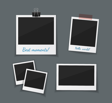 Vector retro photo frames sticked with paper tape and hanged with paper clip. Instant photo frame collection. Empty  photo on dark back ground. Illustration