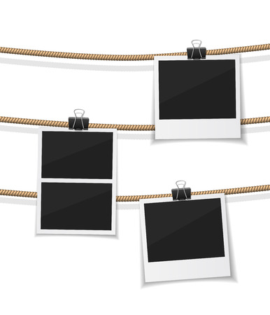 remember: Vector  photo hanged on a rope. Retro photos on a thread. Instant photo collection. Remember the moment.