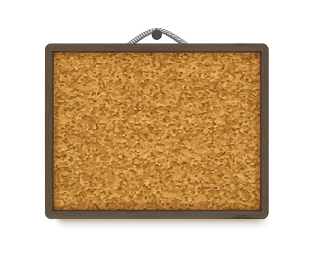 Cork board with dark wooden frame, realistic vector illustration isolated on white background. Horizontal corkboard hanging on rope Illustration