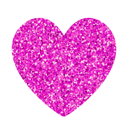 Valentines day glitter pink heart isolated on white background