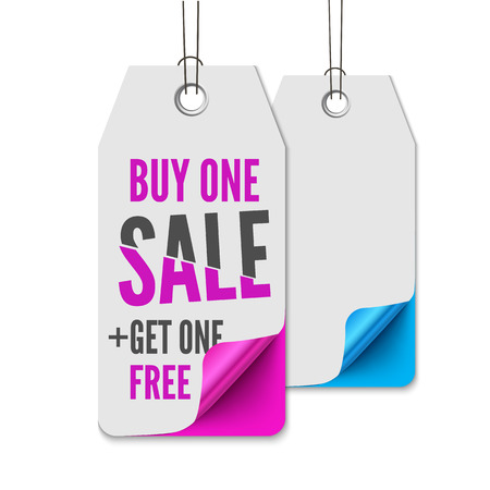 Sale tags. Realistic vector illustration of hanging paper sale label with shadow and curved corners