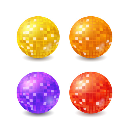Set of vector disco balls