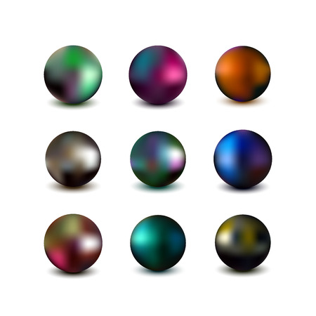 Metallic sphere. Realistic vector illustration of colorful chrome balls Illustration
