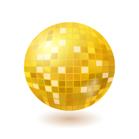 Golden disco mirror ball isolated on white background Illustration