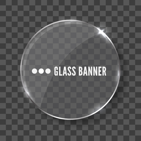 rectangle button: Glass banner realistic vector illustration Stock Photo