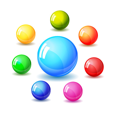 Set of bright glossy colored balls. Realistic vector illustration