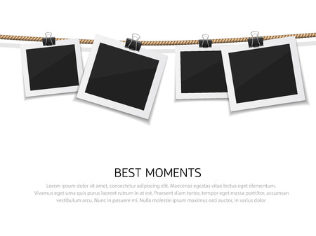 photo album: Set of vector photo hanged on rope. Realistic retro style instant fotos with thread. Remember the moment
