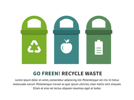 refuse: Recycle waste bins vector illustration