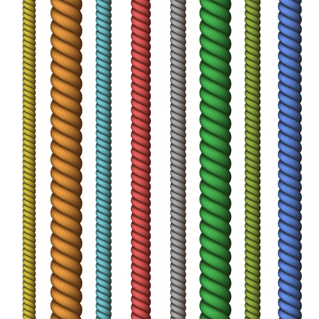 Vector Climbing or nautical rope thin and thick isolated on white background Ilustracja