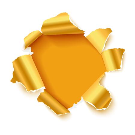골드 찢어진면이있는 흰 종이의 구멍