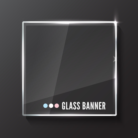 Glass plate. Realistic vector illustration.